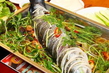 Món cá sủ hấp xì dầu với tủ hấp công nghiệp